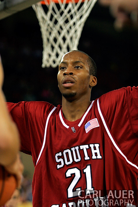 25 November 2005: USC senior guard, Tarence Kinsey, in the South Carolina 62-56 victory over Monmouth University at the Great Alaska Shootout in Anchorage, Alaska