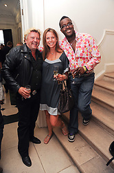 Left to right, MARK FULLER, SALLY AMBROSE and ORLANDO HAMILTON at a party to celebrate the launch of Page One an online guide to London's 100 most rewarding restaurants held at the Halcyon Gallery, Bruton Street, London on 7th July 2010.