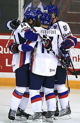 Team Slovakia celebrates a goal at ice-hockey game Slovenia vs Slovakia at Relegation  Round (group G) of IIHF WC 2008 in Halifax, on May 09, 2008 in Metro Center, Halifax, Nova Scotia, Canada. Slovakia won 5:1. (Photo by Vid Ponikvar / Sportal Images)
