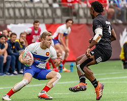 March 9, 2019 - Vancouver, BC, U.S. - VANCOUVER, BC - MARCH 10: Joe Ravouvou #4 of New Zealand watches France attacker closely during Game #4- New Zealand 7s vs France 7s in Pool C match-up at the Canada Sevens held March 9-10, 2019 at BC Place Stadium in Vancouver, BC, Canada.(Photo by Allan Hamilton/Icon Sportswire) (Credit Image: © Allan Hamilton/Icon SMI via ZUMA Press)