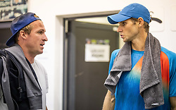 Blaz Rola of Slovenia with coach Grega Zemlja after winning in 2nd Round of ATP Challenger Zavarovalnica Sava Slovenia Open 2019, day 6, on August 14, 2019 in Sports centre, Portoroz/Portorose, Slovenia. Photo by Vid Ponikvar / Sportida