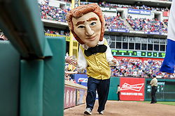 March 29, 2018 - Arlington, TX, U.S. - ARLINGTON, TX - MARCH 29: The Texas Rangers Legends mascot race caricature of Jim Bowie races between innings during the game between the Texas Rangers and the Houston Astros on March 29, 2018 at Globe Life Park in Arlington, Texas. Houston defeats Texas 4-1. (Photo by Matthew Pearce/Icon Sportswire) (Credit Image: © Matthew Pearce/Icon SMI via ZUMA Press)