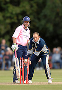 "Uxbridge; GREAT BRITAIN; Middlx Capt. Ed SMITH watches, as the returned ball hits the wicket, Kents James TREDWELL catching the ball; during the Twenty20 Cup match between Middlx and Kent; at Uxbridge Cricket Ground; ""England Wed 27.06.2007  [Photo""; Peter Spurrier/Intersport-images]"