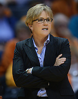 Nov 15, 2012; Knoxville, TN, USA; Tennessee Lady Volunteers head coach Holly Warlick during the game against the Rice Owls at Thompson Boling Arena. Tennessee won by a score of 101 to 48. Mandatory Credit: Randy Sartin-US PRESSWIRE