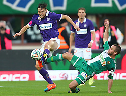 09.11.2014, Ernst Happel Stadion, Wien, AUT, 1. FBL, SK Rapid Wien vs FK Austria Wien, 15. Runde, im Bild James Holland (FK Austria Wien) und Steffen Hofmann (SK Rapid Wien) // during a Austrian Football Bundesliga Match, 15th Round, between SK Rapid Vienna and FK Austria Vienna at the Ernst Happel Stadion, Wien, Austria on 2014/11/09. EXPA Pictures © 2014, PhotoCredit: EXPA/ Thomas Haumer