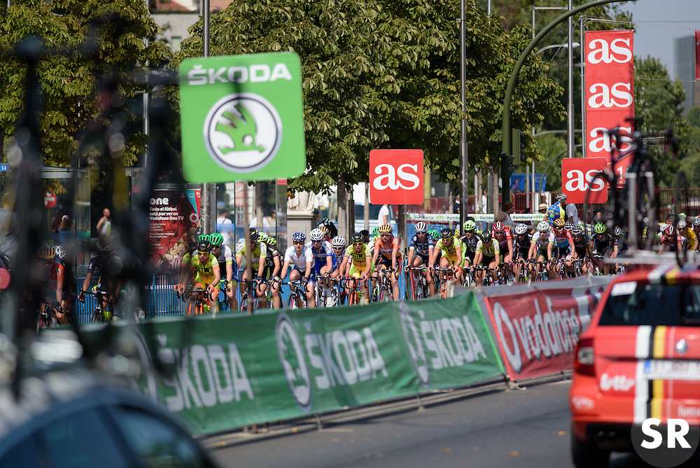 Peloton stream by the otherside of the road at Madrid Challenge by La Vuelta an 87km road race in Madrid, Spain on 11th September 2016.
