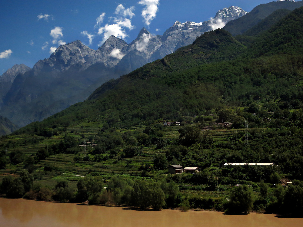Yulong Xue Shan over the Jinsha (Yangtze) river near Qiaotuo, Yunnan, China; September, 2013.
