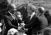 Egyptian President Anwar Sadat, US President Jimmy Carter and Israeli Prime Minister Menachem Begin shake hands at the time of the Peace treaty between Israel and Egypt in 1979