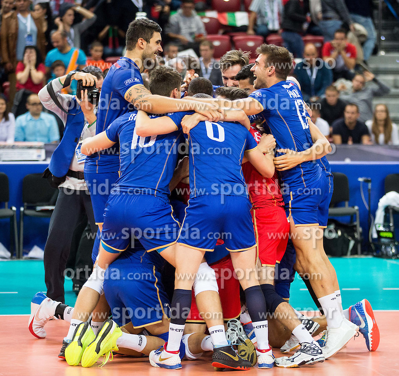 Players of France celebrate after winning during volleyball match between National teams of France and Bulgaria in 2nd Semifinal of 2015 CEV Volleyball European Championship - Men, on October 17, 2015 in Arena Armeec, Sofia, Bulgaria. Photo by Vid Ponikvar / Sportida