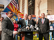 "23 JANUARY 2012 - PHOENIX, AZ:     Speaker of the House, Andy Tobin (CQ CENTER) talks about the Arizona House investigation of ""Fast and Furious"" at the State Capitol Monday, Jan 23. Both sides of the immigration debate congregated on the capitol grounds to protest against and in favor of SB 1070 and other anti immigration bills. At the same time people were protesting, legislators from both sides of the issue held press conferences.  PHOTO BY JACK KURTZ"