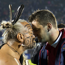 Warrior and Sam Warburton with greeting hongi, Toll Stadium, Whangarei game 1 of the British and Irish Lions 2017 Tour of New Zealand,The match between Provincial Union Team and British and Irish Lions,Saturday 3rd June 2017   <br /> <br /> (Photo by Kevin Booth Steve Haag Sports)<br /> <br /> Images for social media must have consent from Steve Haag