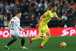 January 26, 2019 - Valencia, Valencia, Spain - Denis Cheryshev of Valencia CF and Vicente Iborra of Villarreal CF during the La Liga Santander match between Valencia and Villarreal at Mestalla Stadium on Jenuary 26, 2019 in Valencia, Spain. (Credit Image: © AFP7 via ZUMA Wire)