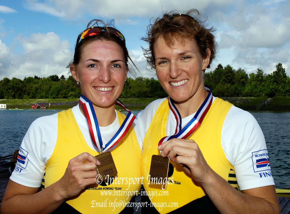 Munich, GERMANY, 2006, FISA, Rowing, World Cup AUS W2-  Amber Bradley and Kate Hornsey, bronze medallist,, Munich,Sat.  27.05.2006. © Peter Spurrier/Intersport-images.com,  / Mobile +44 [0] 7973 819 551 / email images@intersport-images.com.[Mandatory Credit, Peter Spurier/ Intersport Images] Rowing Course, Olympic Regatta Rowing Course, Munich, GERMANY
