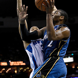 February 1, 2011; New Orleans, LA, USA;Washington Wizards point guard John Wall (2) shoots over New Orleans Hornets shooting guard Willie Green (33)  during the third quarter at the New Orleans Arena. The Hornets defeated the Wizards 97-89.  Mandatory Credit: Derick E. Hingle