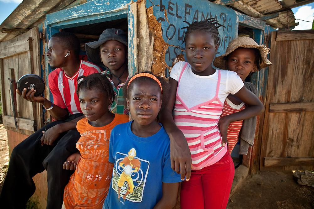 Kids hang out at a market near Caye Michel in the Massif de la Hotte, Haiti