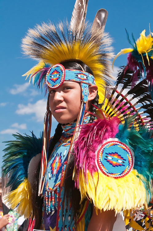 Young Blackfoot man in traditional regalia, Siksika Nation Pow-wow, Gleichen, Alberta, Canada