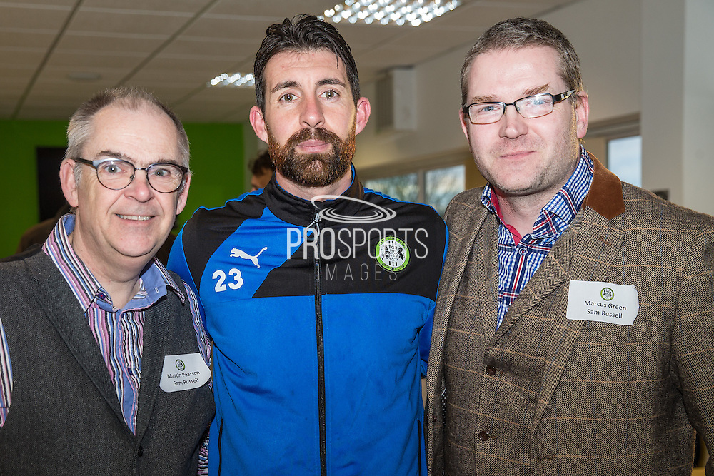 Forest Green Rovers goalkeeper Sam Russell(23) with his shirt sponsors during the Vanarama National League match between Forest Green Rovers and Macclesfield Town at the New Lawn, Forest Green, United Kingdom on 4 March 2017. Photo by Shane Healey.