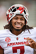FAYETTEVILLE, AR - MARCH 6:   Trey Knox #7 of the Arkansas Razorbacks on the sidelines during the annual Spring Game at Razorback Stadium on March 6, 2019 in Fayetteville, Arkansas.  (Photo by Wesley Hitt/Getty Images) *** Local Caption *** Trey Knox