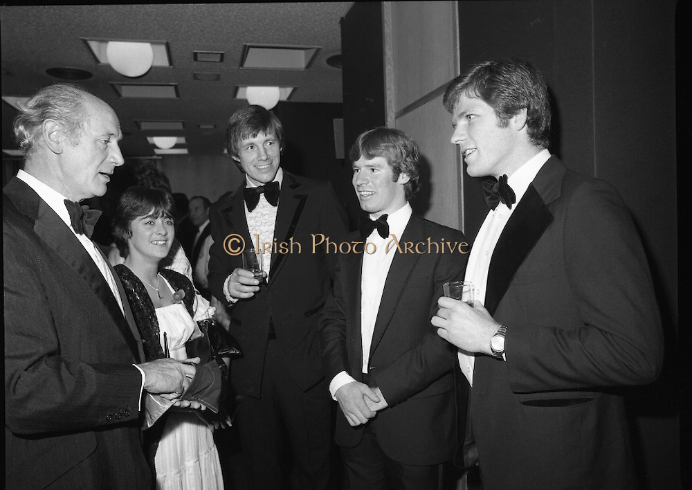 Bank of Ireland GAA Allstars.    (N5)..1979..07.12.1979..12.07.1979..7th December 1979..The 1979 Bank of Ireland GAA Allstars received their trophies from An Taoiseach, Mr Jack Lynch TD,at a banquet in Jury's Hotel,Dublin..Image shows An Taoiseach,Mr Jack Lynch TD,chatting with some of the award winners before the presentation.(L-R) Martin O'Doherty, Cork, Dermot McCurtain, Cork and Tommy Drumm, Dublin.Also included is Enda Ní Mhurchú, Dublin.