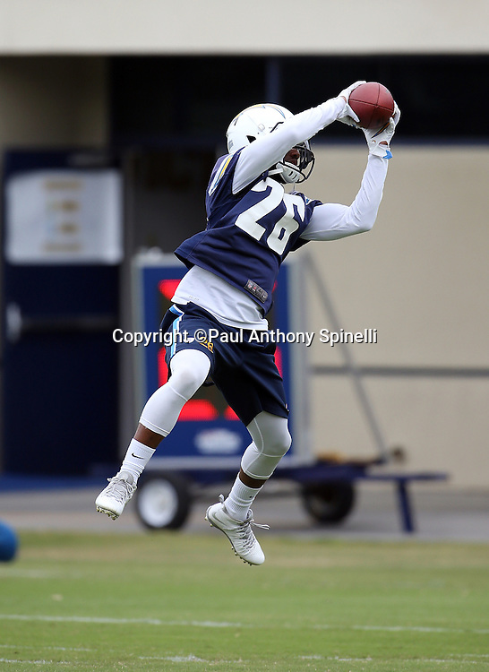 San Diego Chargers cornerback Casey Hayward (26) catches a pass during the Chargers 2016 NFL minicamp football practice held on Tuesday, June 14, 2016 in San Diego. (©Paul Anthony Spinelli)
