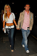 28.08.2007. LONDON<br /> <br /> TOTTENHAM HOTSPUR FOOTBALLER ROBBIE KEANE AND HIS WIFE IRISH MODEL CLAUDINE PALMER LEAVING NOBU, BERKLEY SQUARE  AND THEN WENT ON TO PARTY AT BOUJIS NIGHT CLUB IN KNIGHTSBRIDGE, LONDON, UK.<br /> <br /> BYLINE: EDBIMAGEARCHIVE.CO.UK<br /> <br /> *THIS IMAGE IS STRICTLY FOR UK NEWSPAPERS AND MAGAZINES ONLY*<br /> *FOR WORLD WIDE SALES AND WEB USE PLEASE CONTACT EDBIMAGEARCHIVE - 0208 954 5968*