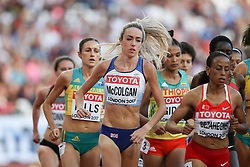 London, August 10 2017 . Eilish McColgan, Great Britain, leads the women's 5,000m heats on day seven of the IAAF London 2017 world Championships at the London Stadium. © Paul Davey.