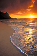 Sunset from Tunnels Beach, Na Pali Coast, Island of Kauai, Hawaii