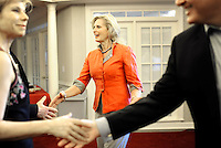 SIMPSONVILLE, SC: Welcomed by local politicians, Ann Romney, wife of republican candidate for president, Mitt Romney, enters the City Hall in Simpsonville, South Carolina, Thursday, September 29, 2011. (Photo by Melina Mara/The Washington Post) . ...