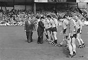 Officials shaking players hands before the start of the All Ireland Senior Gaelic Football Championship Final Kerry v Dublin at Croke Park on the 22nd September 1985. Kerry 2-12 Dublin 2-08.