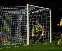 Photo: Steve Bond.<br />Leicester City v Leeds United. Coca Cola Championship. 13/03/2007. Casper Ankergren can only watch as Iain Hume's header loops over him into the net