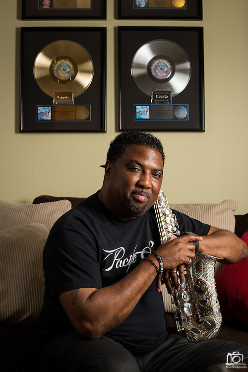 Saxophonist Eddie Mininfield poses for a portrait at his home in Milpitas, California, on May 26, 2016. Mininfield grew up in Berkeley, started his career with Sheila E., and performed with Prince. (Stan Olszewski/SOSKIphoto)