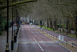 © Licensed to London News Pictures. 09/02/2020. London, UK. Birdcage Walk, London remains closed to the public as Storm Ciara hits London and the South East. All 8 Royal Parks closed their gates this morning to the public as weather experts predict stormy weather with very high winds and heavy rain for Sunday. Photo credit: Alex Lentati/LNP