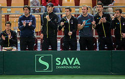 Aljaz Bedene, Ziga Janskovec, Blaz Rola, Andraz Bedene, Grega Zemlja, Mike Urbanija and Nik Razborsek of Slovenia playing singles during the Day 2 of Davis Cup 2018 Europe/Africa zone Group II between Slovenia and Poland, on February 4, 2018 in Arena Lukna, Maribor, Slovenia. Photo by Vid Ponikvar / Sportida