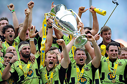 Tom Wood and Dylan Hartley lift the trophy in celebration as Northampton Saints become Aviva Premiership Champions - Photo mandatory by-line: Patrick Khachfe/JMP - Tel: Mobile: 07966 386802 31/05/2014 - SPORT - RUGBY UNION - Twickenham Stadium, London - Saracens v Northampton Saints - Aviva Premiership Final.