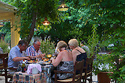 Tourists in a local restaurant, Mozaik, in Fethiye, Turkey.