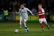 Marcus Harness of Portsmouth  goes past Kyle Dempsey of Fleetwood Town   during the The FA Cup match between Fleetwood Town and Portsmouth at the Highbury Stadium, Fleetwood, England on 4 January 2020.