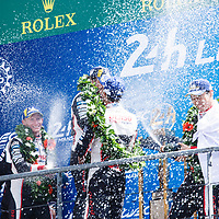 Podium LMP1: 1. Toyota #8, 2. Toyota #7, 3. Rebellion Racing #3, on 17/06/2018 at the 24H of Le Mans, 2018
