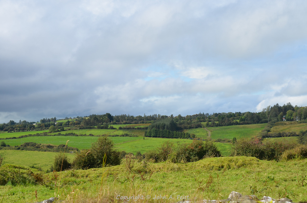 Looking out over the gently rolling hills and farms in Brosna, County Kerry, Ireland