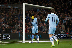 03.12.2011, City of Manchester Stadium, Manchester, ENG, PL, Manchester City vs Norwich City, 14. Spieltag, im Bild Manchester City's Mario Balotelli scores the fourth goal against Norwich City by nonchalantly knocking it in with his shoulder // during the football match of english Premier League, 14th round between Manchester City vs Norwich City at City of Manchester stadium, Manchester, ENG on 2011/12/03. EXPA Pictures © 2011, PhotoCredit: EXPA/ Sportida/ David Rawcliff..***** ATTENTION - OUT OF ENG, GBR, UK *****