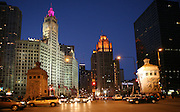 Intersection of Wacker and Michigan ave facing the DuSable bridge
