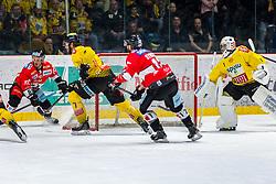 19.03.2019, Ice Rink, Znojmo, CZE, EBEL, HC Orli Znojmo vs Vienna Capitals, Viertelfinale, 4. Spiel, im Bild v.l. Anthony Luciani (HC Orli Znojmo) Matthew Clark (Vienna Capitals) C.J. Stretch (HC Orli Znojmo) Jean Philippe Lamoureux (Vienna Capitals) // during the Erste Bank Icehockey 4nd quarterfinal match between HC Orli Znojmo and Vienna Capitals at the Ice Rink in Znojmo, Czechia on 2019/03/19. EXPA Pictures © 2019, PhotoCredit: EXPA/ Rostislav Pfeffer