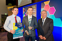 27/01/2014 SCCUL Enterprise Award<br /> Entertainment, Media &amp; Leisure<br /> Winner Hillwalk Tours<br /> <br /> The owner of this company grew up on a farm in Kilkenny- before going on to study business and French in University.   A brief flirtation with journalism followed which ended when he noticed that using his press pass to gain free entry to sports events was more enjoyable to reporting on them.<br /> Hiking trips in Malaysia, New Zealand and South America reignited a dormant passion for the great outdoors and on his return to Ireland provided the inspiration for a new business.  He set up his new venture in 2009 from a bedroom in his Mum&rsquo;s house. <br /> <br /> Turnover has more than doubled every year from an initial &euro;37,000 in 2009.<br /> Their work force has grown from one person in March 2011 to 11 full time staff at present. They cite the dedication and passion of their staff in providing a high level of service to his customers as one of the key strengths of the business. <br /> What do they do?<br /> This business services tourist clients visiting Ireland from North America, Mainland Europe and Great Britain and offers long distance, self guided walking tours in the UK and Ireland.. <br /> The winner is Hill Walk Tours and founder James Byrne seen here with Anthony Barrettt (lhs) and Pat O'Sullivan SCCUL.<br /> <br /> Their prize is<br /> &bull;specially commissioned piece of sculpture from locally based sculptor Liam Butler<br /> &bull;&euro;1000 cash<br /> &bull;Full page Business profile worth &euro;1250 in the Galway Independent SCCUL Enterprise Awards Souvenir Supplement which will be published  .<br /> Photo:Andrew Downes
