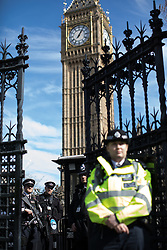 © Licensed to London News Pictures . 25/03/2017 . London , UK . Armed police standing inside Carriage Gates , the gates to Old Palace Yard . A Unite for Europe anti Brexit march through central London , from Park Lane to Westminster . Protesters are campaigning ahead of the British government triggering Article 50 of the Lisbon Treaty which will initiate Britain's withdrawal from the European Union . Photo credit : Joel Goodman/LNP