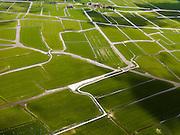 Nederland, Noord-Holland, Gemeente Schermer, 16-04-2012; Polder Mijzen met riviertjes en sloten, boven in beeld de Annahoeve. De polder is een aardkundig monument doordat het laagveen (mosveen) nagenoeg onaangetast is. .Polder Mijzen, a geological monument, the bog (moss) is virtually untouched.luchtfoto (toeslag), aerial photo (additional fee required);.copyright foto/photo Siebe Swart