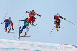 21.02.2018, Phoenix Snow Park, Bokwang, KOR, PyeongChang 2018, Freestyle, Ski Cross, Herren, im Bild Sergey Ridzik (OAR), Dave Duncan (CAN), Francois Place (FRA), Jean Frederic Chapuis (FRA) // Sergey Ridzik of Olympic Athlete from Russia Dave Duncan of Canada Francois Place of France Jean Frederic Chapuis of France during the men's Freestyle Ski Cross competition of the Pyeongchang 2018 Winter Olympic Games at the Phoenix Snow Park in Bokwang, South Korea on 2018/02/21. EXPA Pictures © 2018, PhotoCredit: EXPA/ Johann Groder