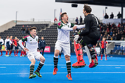 Surbiton celebrate winning. Hampstead & Westminster v Surbiton - Men's Hockey League Final, Lee Valley Hockey & Tennis Centre, London, UK on 29 April 2018. Photo: Simon Parker