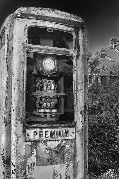 Abandoned Premium Gasoline Pump - Eldorado Canyon - Nelson NV - HDR -  Infrared Black & White