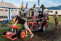 08.07.2017, Red Bull Ring, Spielberg, AUT, FIA, Formel 1, Grosser Preis von Österreich, Qualifying, im Bild Campingplatz, Fans mit einem selbstgebauten Jägermeister Traktor // Campsite Fans with a self- made Jägermeister tractor After the Qualifying of the Austrian FIA Formula One Grand Prix at the Red Bull Ring in Spielberg, Austria on 2017/07/08. EXPA Pictures © 2017, PhotoCredit: EXPA/ JFK