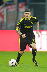 UTRECHT, THE NETHERLANDS - Thursday, September 30, 2010: Liverpool's Martin Skrtel in action against FC Utrecht during the UEFA Europa League Group K match at the Stadion Galgenwaard. (Photo by David Rawcliffe/Propaganda)