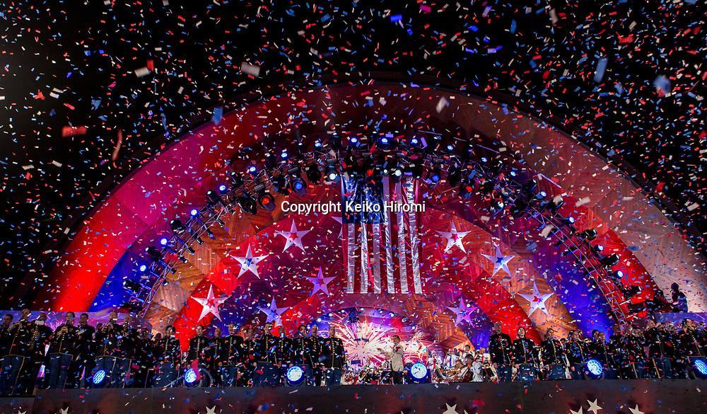 July 3, 2017, Esplanade, Boston, Massachusetts, USA: Spectator during a rehearsal concert for the annual Boston Pops Fireworks Spectacular on the Esplanade in Boston.